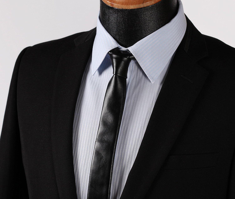 Corbata Hisdern de cuero sintético negro negro Talla única: Amazon ...