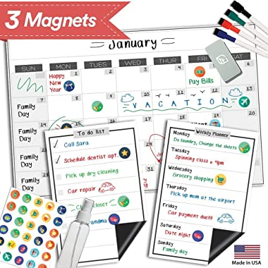 Magnetic Dry Erase Refrigerator Calendar - 17  x 11  - Reusable Monthly Whiteboard Fridge Planner - Large Kitchen Magnet Chore Chart - Erasable Weekly White Board Grocery & To Do List