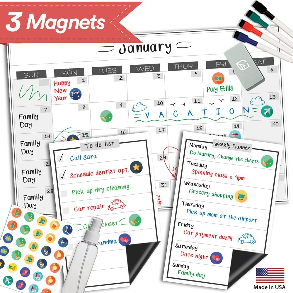 Magnetic Dry Erase Refrigerator Calendar - 17'' x 11'' - Monthly Weekly Reusable Fridge Meal Planner - Large Whiteboard Kitchen Magnet Chore Chart - Grocery & To Do List - Erasable White Board Bulletin