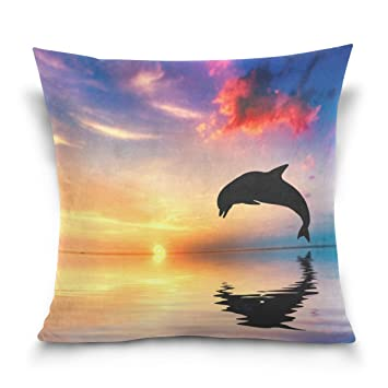 ALIREA Dolphin Sunset Backgrounds Throw Pillow Cover Cases Linen Home Decorative Zipper Throw Pillow Case for