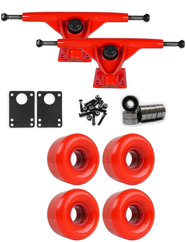 RKPレッドLongboardトラックホイールパッケージ58 mm x 36 mm 83 a 200 Cレッド   B01IJ9EOMS