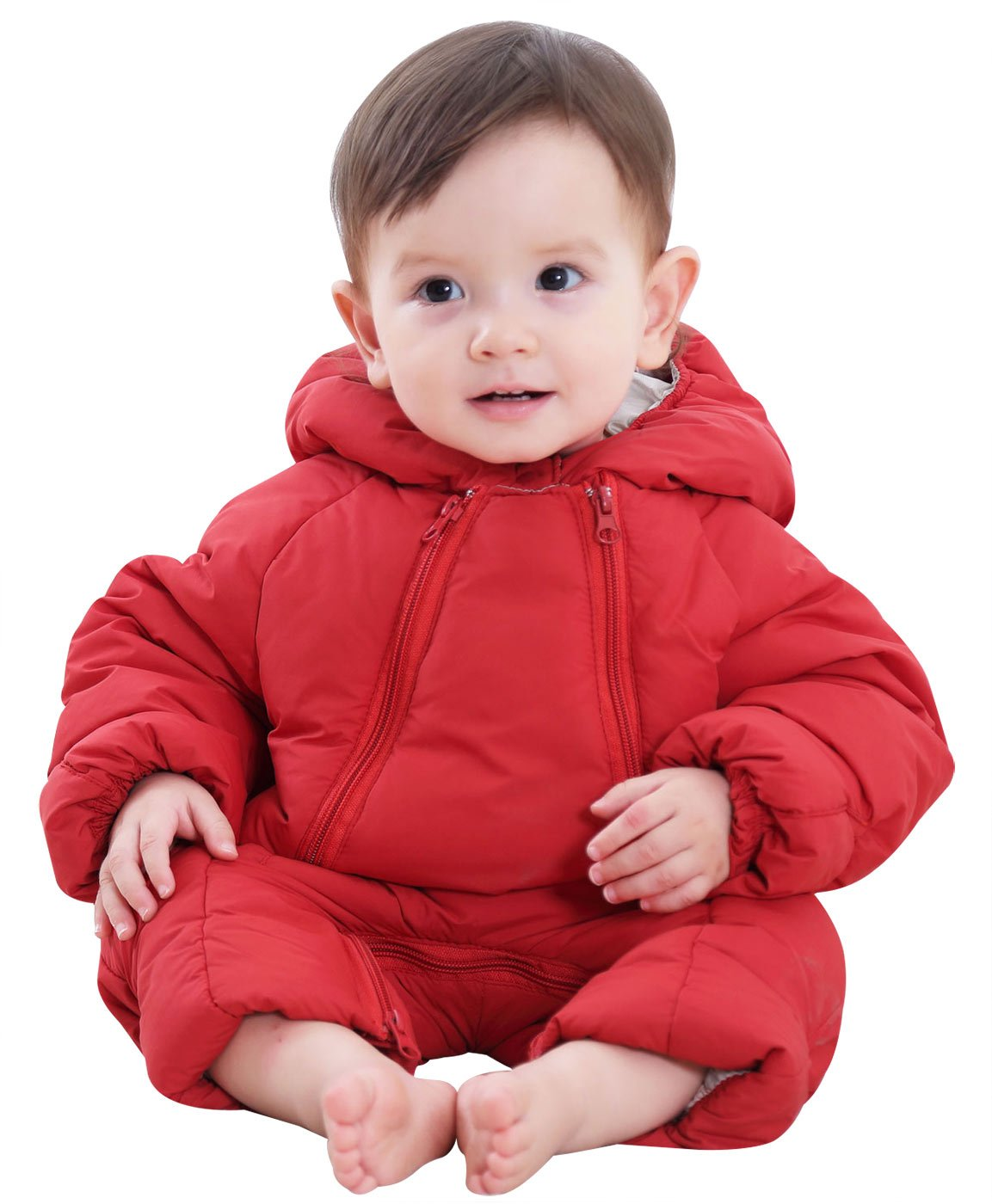 Winter Baby Girl's One-Piece Hood Down Cotton Snowsuit Jumpsuit Happy cherry