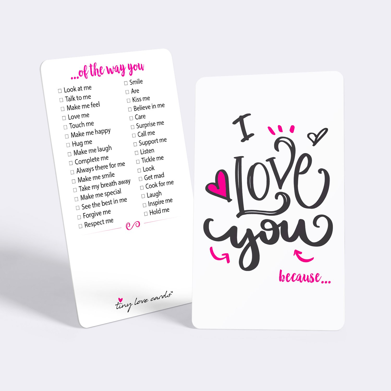 Tiny Love Cards - Set of 85 Mini I Love You because… Cards - Anniversary, Romantic, Boyfriend, Girlfriend, Valentine's, Just Because Note