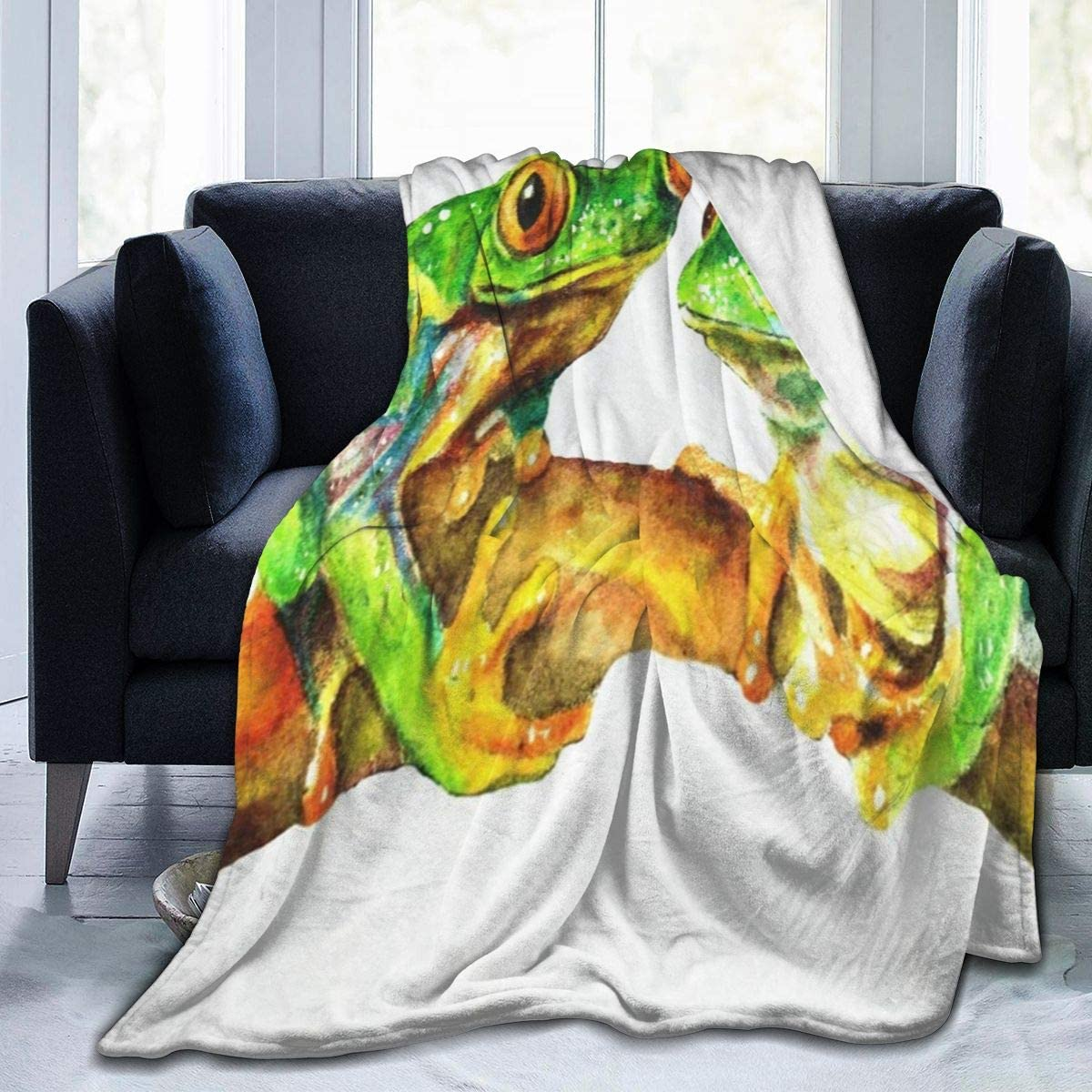Fleece Plush Throw Blanket Comforter Watercolor Tropical Frog Fur Soft Cozy Warm Fluffy Lightweight Microfiber Fuzzy Kids Blankets for Bed Couch Sofa Fall Camp 50x40 Travel Chair Nap