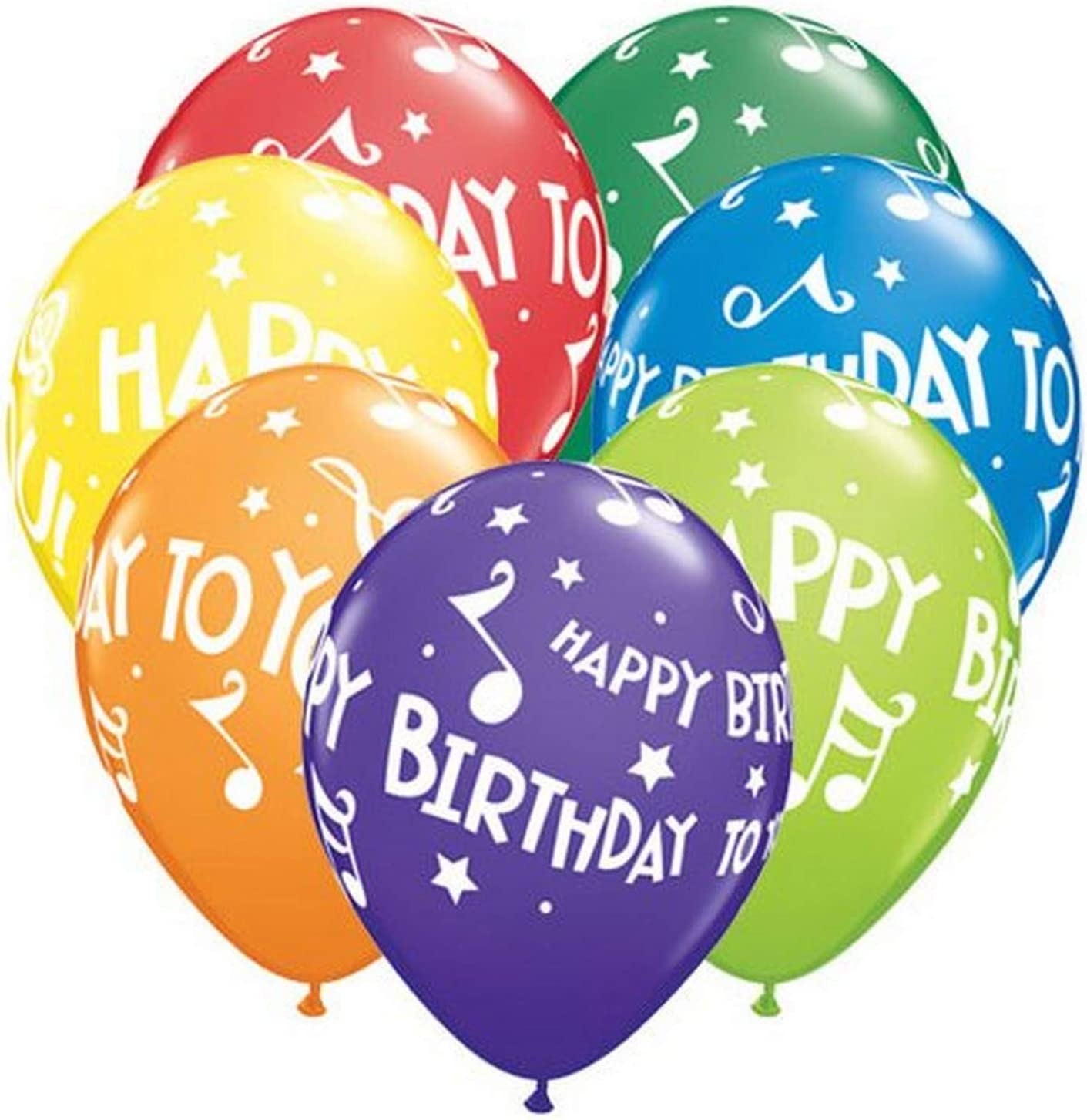 """Happy Birthday To You Music Notes Carnival Assortment 11/"""" Qualatex Balloons x 5"""
