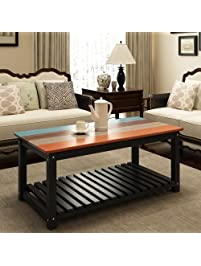living room table. Coffee Table  LITTLE TREE 48 Solid Wood Cocktail with Lower Storage Open Shelf Living Room Tables Amazon com