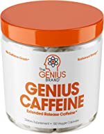 Genius Caffeine, Extended Release Microencapsulated Caffeine Pills, All Natural Non-Crash Sustained