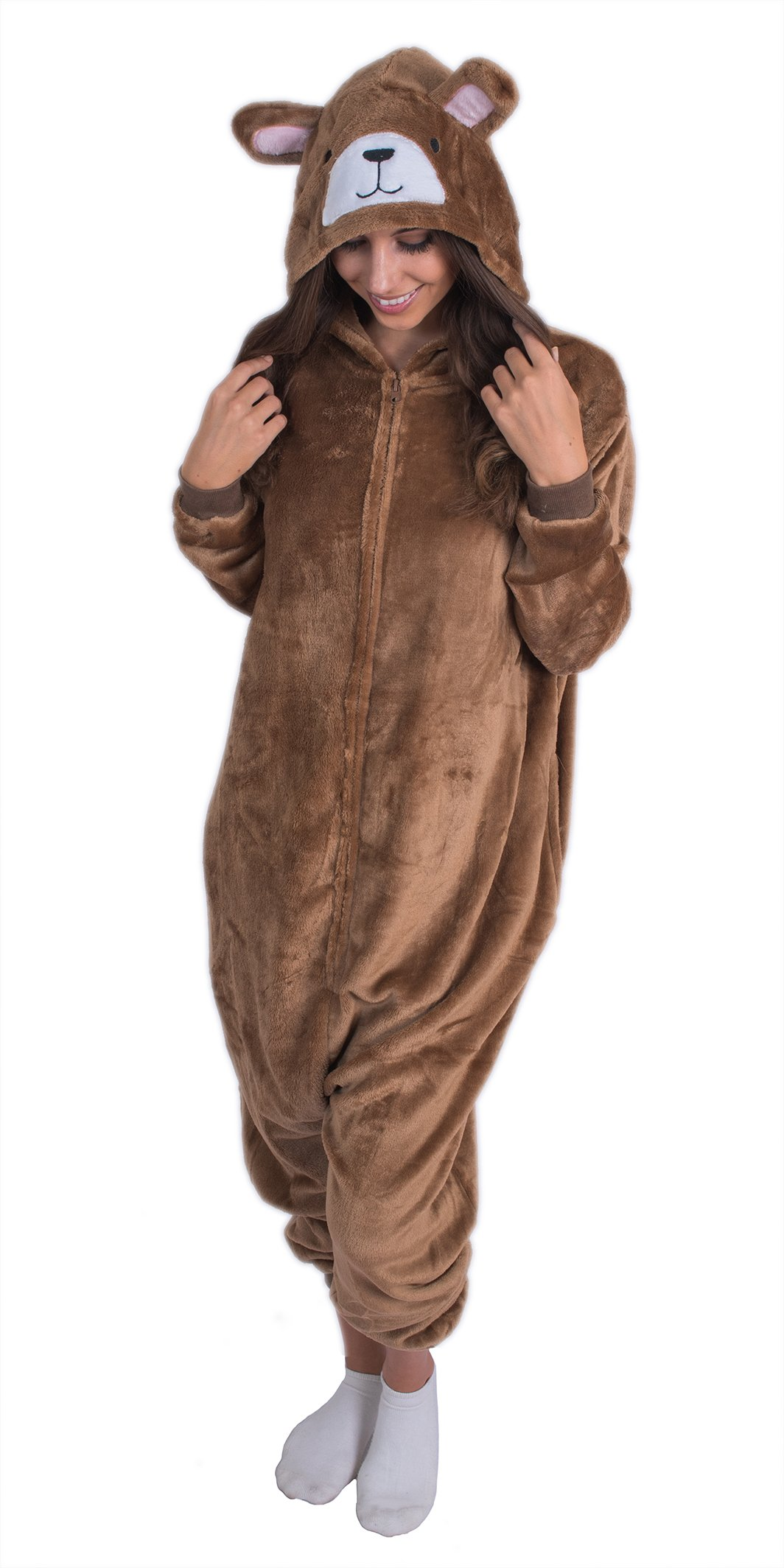 Adult Onesie Plush Bear Animal Pajamas Comfortable Costume with Zipper and Pockets (Small)