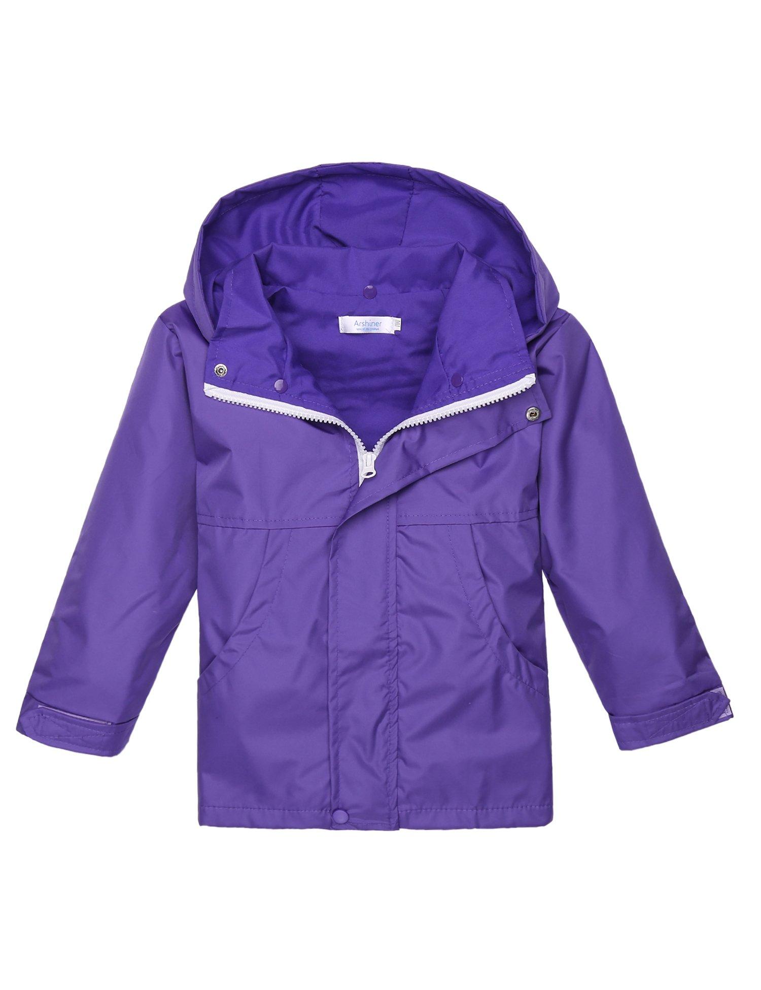 Arshiner Girls Waterproof Raincoats Kids Hooded Rain Jacket Lavender 130(7-8Y)