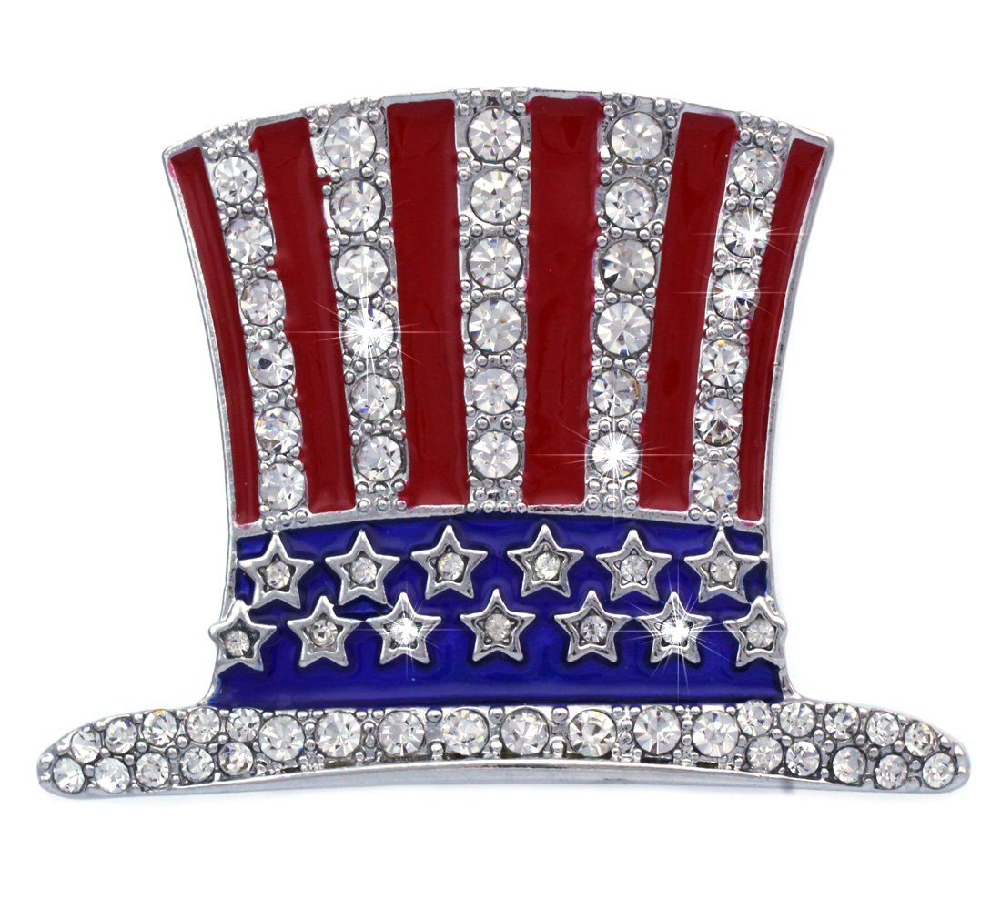 cocojewelry 4th of July American Flag Design Uncle Sam Hat Pin Brooch Independence Day Gift (Hat Style 1 Silver-tone)