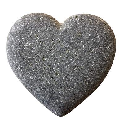 """Heart Shape Stone Natural River Rock 3"""" Gray : Garden & Outdoor"""