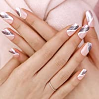 ArtPlus 24pcs Silver Pink Elegant Touch French Manicure False Nails with Glue Full Cover Long Length Fake Nails Art