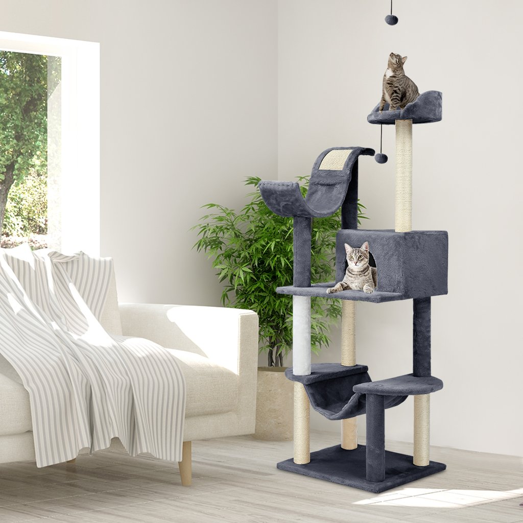 Finether Cat Furniture Cat Tree Cat Tower Cat Tree Tower Cat Play Tower with Sisal Scratching Posts Hammock//Perches Platform//Dangling Ball 55 W x 45 D x 154 Hcm