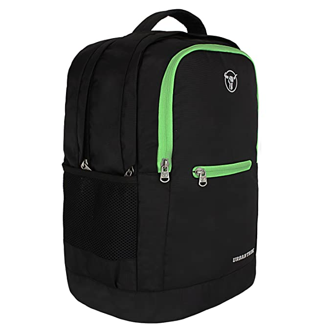 Urban Tribe Boomer Anti Theft Retro Look Casual Laptop Backpack Black/Green Laptop Backpacks