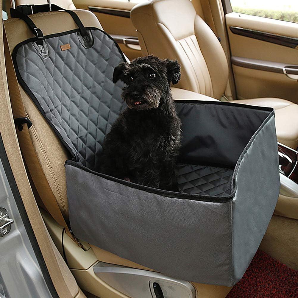 Gris Petcomer Protector de Asiento de Coche para Mascota Perro Gato Asiento Cubierto Caja de Transporte 2 en 1 Funda Impermeable y Resistente