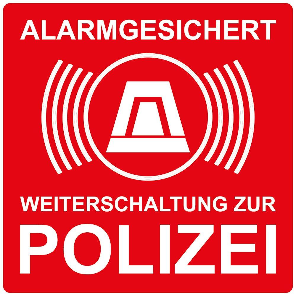 wall-art-design® 1 Stück Aufkleber Alarmgesichert Weiterleitung zur Polizei, rot, selbstklebend, kratz und Wetterfest