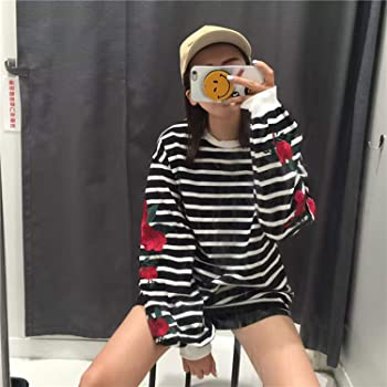 2018 Hoodies Roses Embroidery Lantern Sleeve Loose Striped Women Sweatshirt Girl Vintage Elegant Casual Tops