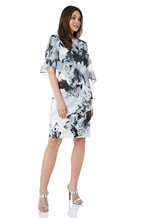 50f31b67616c Roman Originals Women Floral Print Chiffon Overlay Dress - Ladies Cold  Shoulder Cape Glittery Party Occasion Wedding Special Chic Stylish Dresses   ...