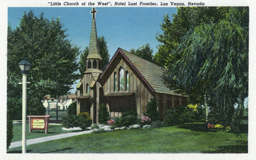 Las Vegas, Nevada - Little Church of the West View, Hotel Last Frontier (12x18 Art Print, Wall Decor Travel Poster)