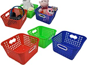"""Storage Baskets, Square Bin Trays, 9.75"""" x 5"""" w/Built in Handle Great Organizer for Toys, Bathroom, Closet or Classroom (3 Pack)"""