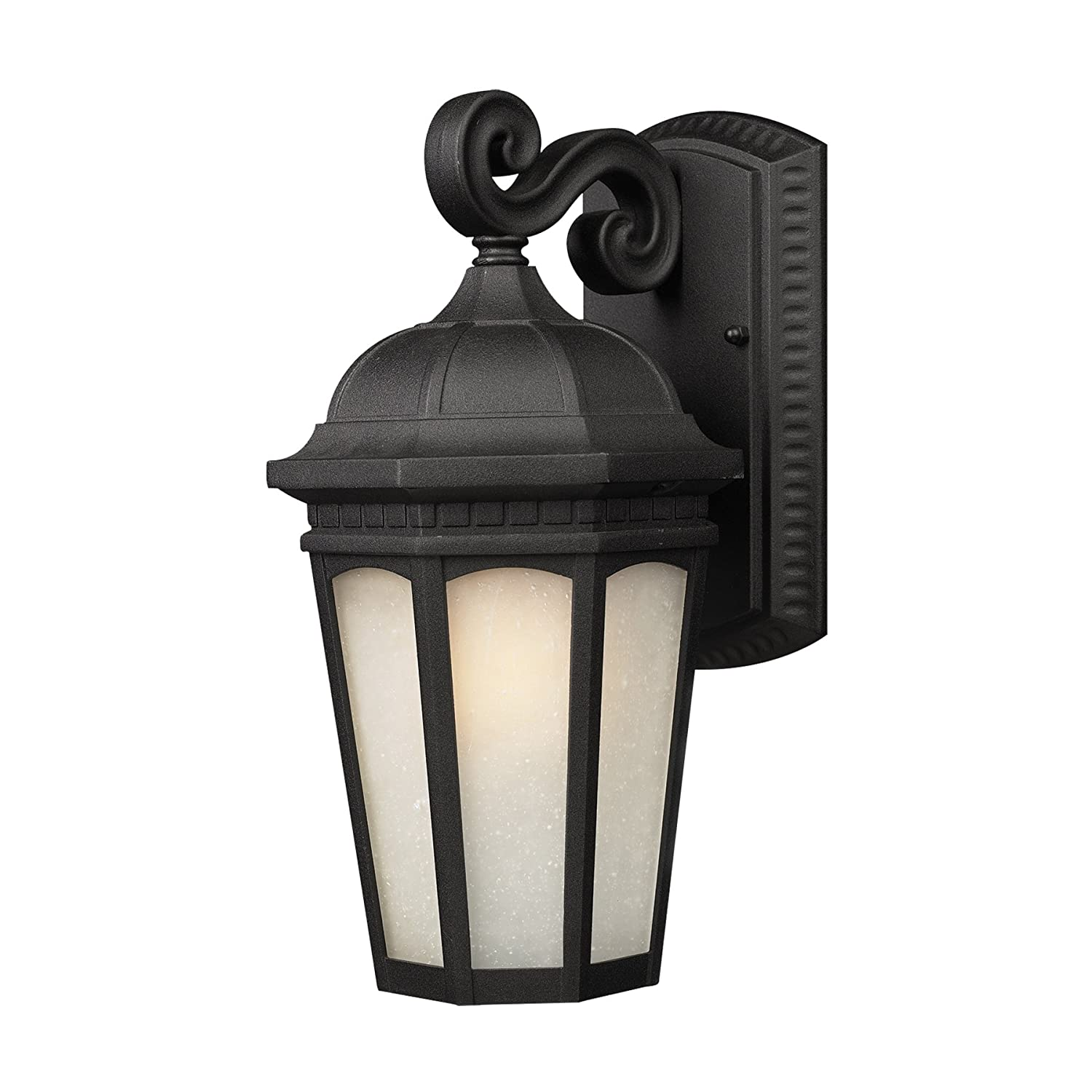 Black Finish and White Seedy Shade of Glass Material Metal Frame Z-Lite 508S-BK Newport Outdoor Wall Light