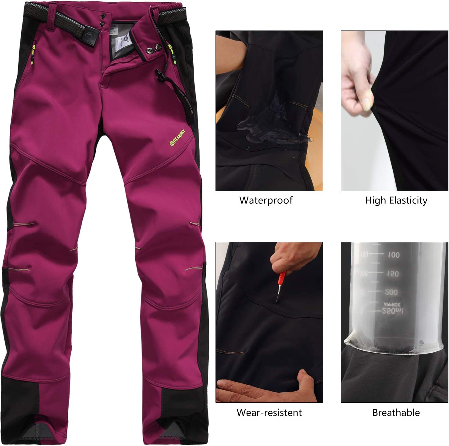FLYGAGA Womens Ski Trousers Weatherproof Softshell Trousers Thermal Fleece Lined Trousers Hiking Trekking Outdoor Pants