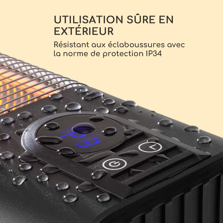 Timer: 1-24 h Indice de Protection : IP34 IR ComfortHeat /él/ément Chauffant en Carbone blumfeldt Silver Bar 2000 radiateur Infrarouge,500//1000//2000 W Utilisation ext/érieure Montage Mural