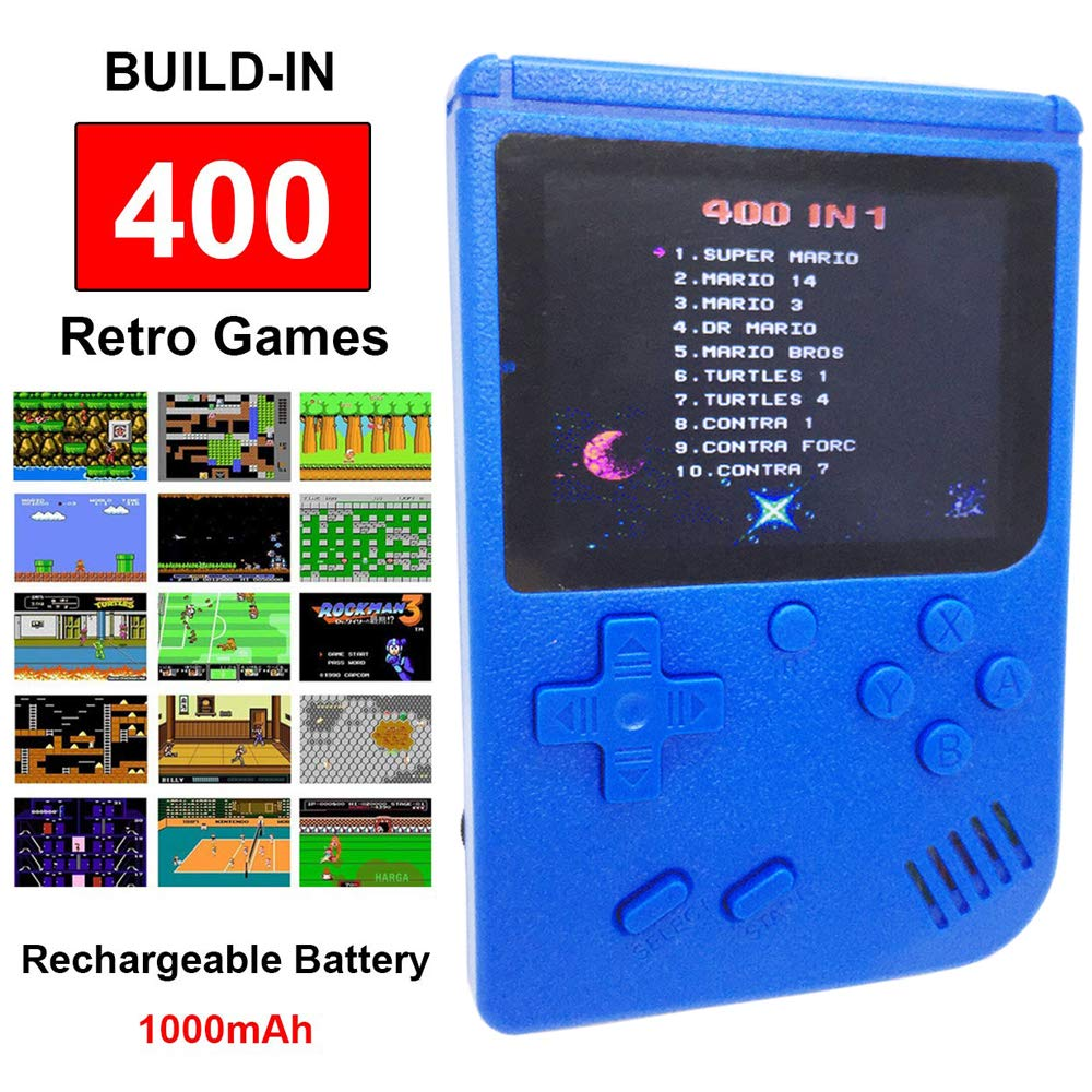 Mini Retro Handheld FC Games Consoles ,Built-in 400 Classic Game, Portable Gameboy 3 Inch LCD Screen TV Output ,Good Gifts for Kids Boys Girls Men Women (Games Consoles Blue) by Come-buy (Image #1)