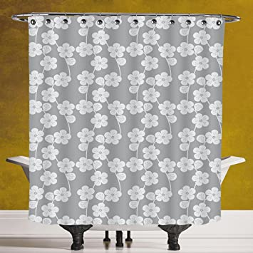 Funky Shower Curtain 30 GeometricFlower Patterned Monochrome Image Petals Bud And Stalks Vintage