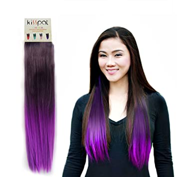 KISSPAT Purple Fashion Ombre Dip Dyed Straight Hair Extension Synthetic Clip In Extensions