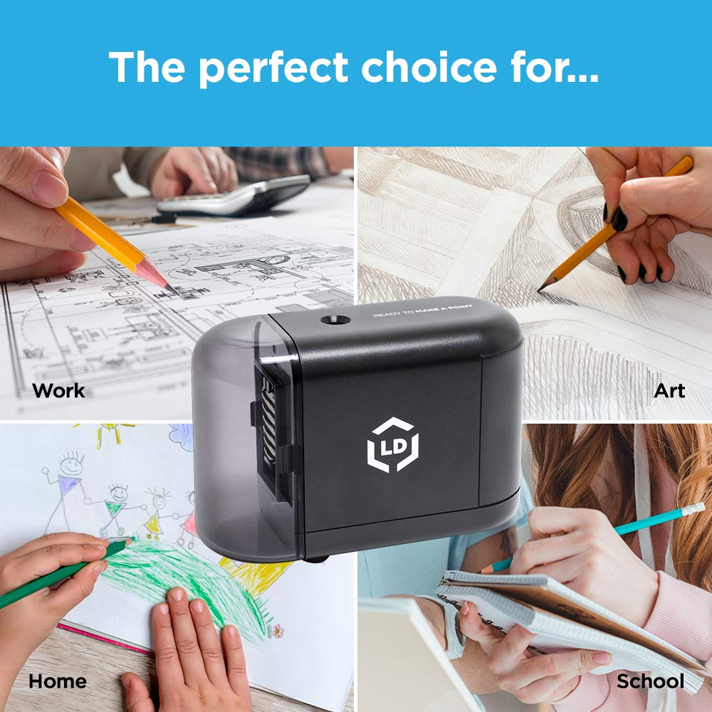 LD Products Electric Pencil Sharpener, Wall Power Supply Included - Professional, Home and Office - Small, Durable, Heavy Duty, Kid Friendly, 3 Sharpening Settings by LD Products (Image #6)