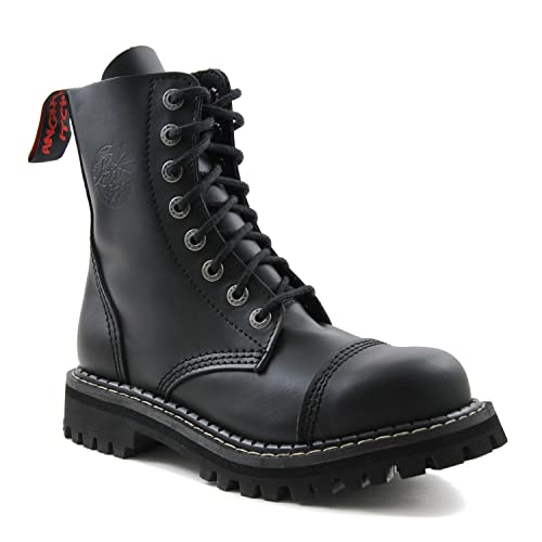 Eu Armee Stiefel Itch Loch Leder Mit 48 8 Schwarze Angry 36 Gothic Army Ranger Punk Made Stahlkappe In RA54Ljqc3