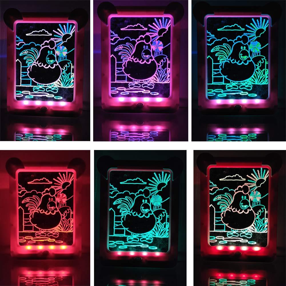 Escritura m/ágica Bloc de Dibujo Creativa Colorear para Dibujar Bosquejo del Arte Doodle 3D Magic Dibujo Pad Azul Glows Tablero de la Escritura Pizarra