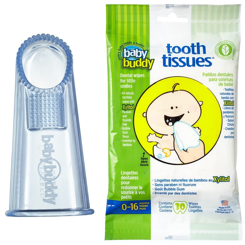 Amazon.com : Baby Buddy Wipe-N-Brush & 30 Wipes-Innovative 6-Stage Oral Care System Grows With Your Child-Stage 3 for Babies/Toddlers-Kids Love Them Clear 2 ...