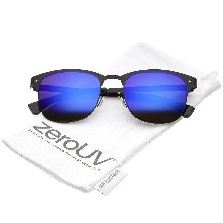 124bd4eba5 Amazon.com  zeroUV - Sleek Metal Semi Rimless Color Mirror Square Lens Horn  Rimmed Sunglasses 48mm (Gold Gold Mirror)  Clothing