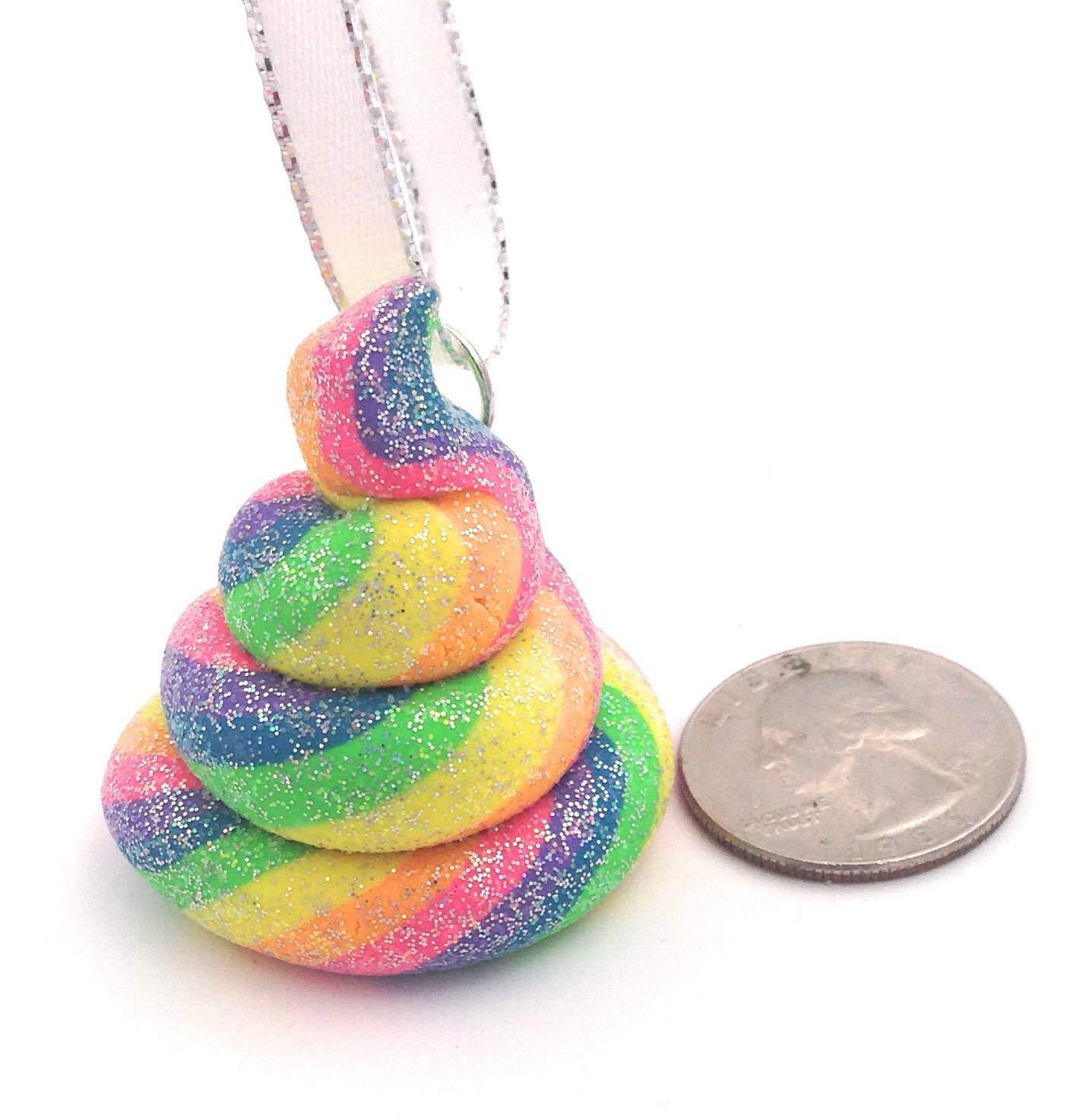 Unicorn Poop Christmas Tree Ornament Rainbow Glitter Emoji Style 8