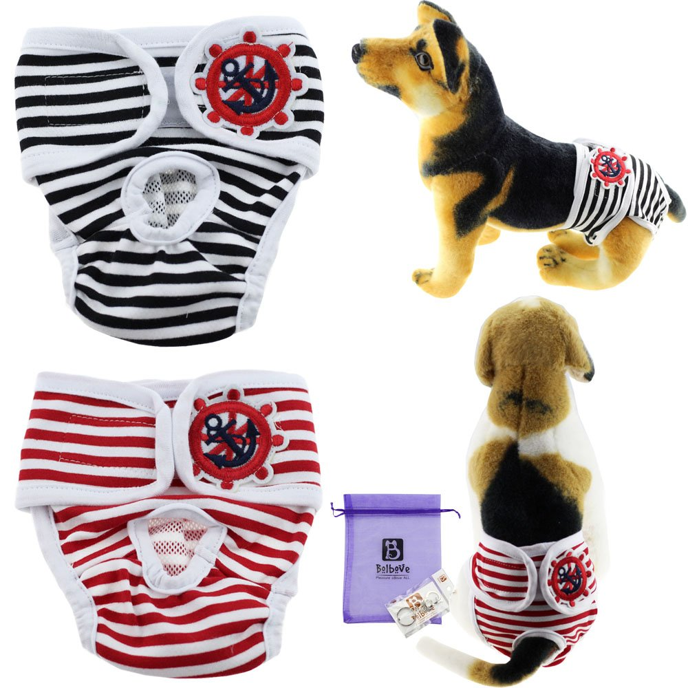 Black+Red X-Large Black+Red X-Large Bolbove 2pcs Sailor Adjustable & Washable Female Pet Diapers for Medium to Large Girl Dogs Sanitary Panties (X-Large, Black+Red)