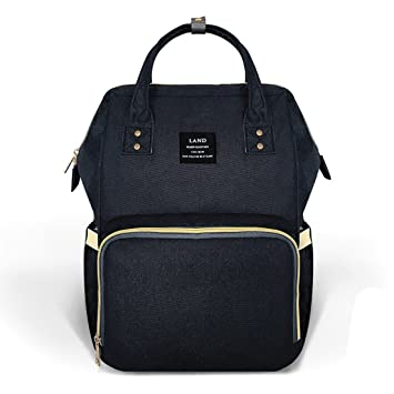 288f2c4f1ae8e Amazon.com : Land diaper bag multi-function waterproof travel backpack  nappy bags insulated compartment pockets wipes pocket (Black) : Baby
