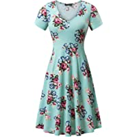 FENSACE with Pockets, Womens Short Sleeve Casual Flare A Line Midi Dress