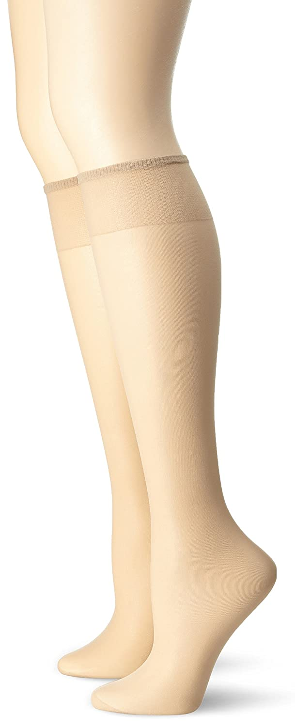No Nonsense Women's Knee High Pantyhose with Reinforced Toe 2-Pack Nude One Size No Nonsense Women' s Hosiery NN1023R