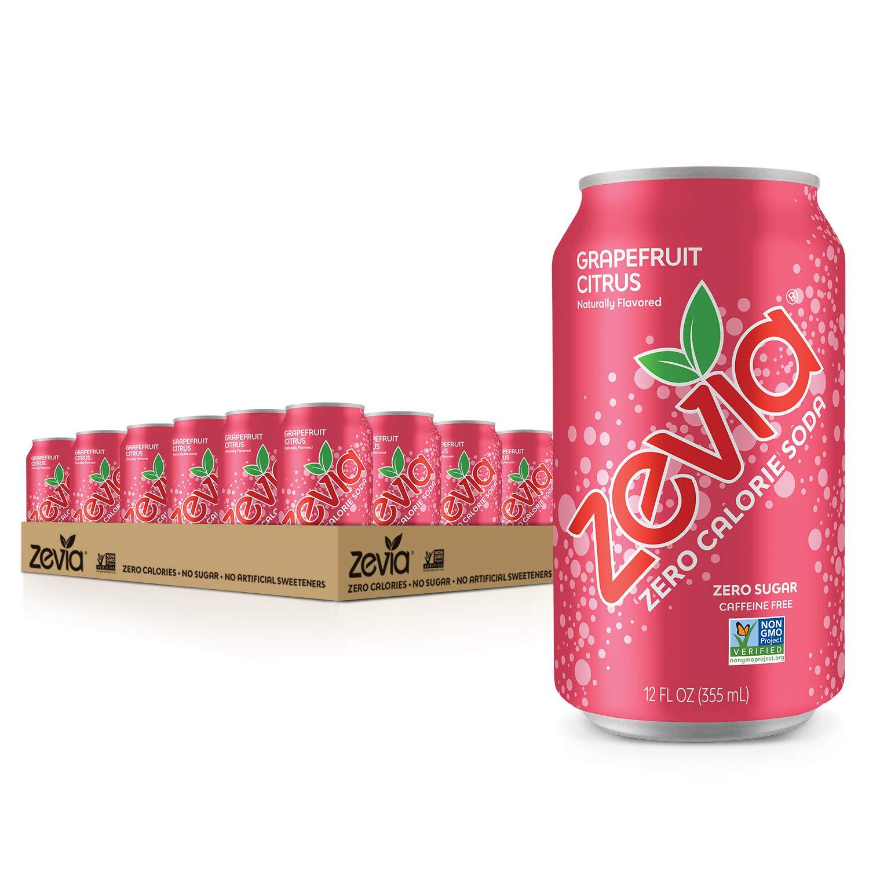 Zevia Zero Calorie Soda, Grapefruit Citrus, Naturally Sweetened Soda, Grapefruit Citrus-flavored Carbonated Soda; Full of Delicious Flavor and Natural Sweetness with No Sugar, 12 Fl Oz (Pack of 24)