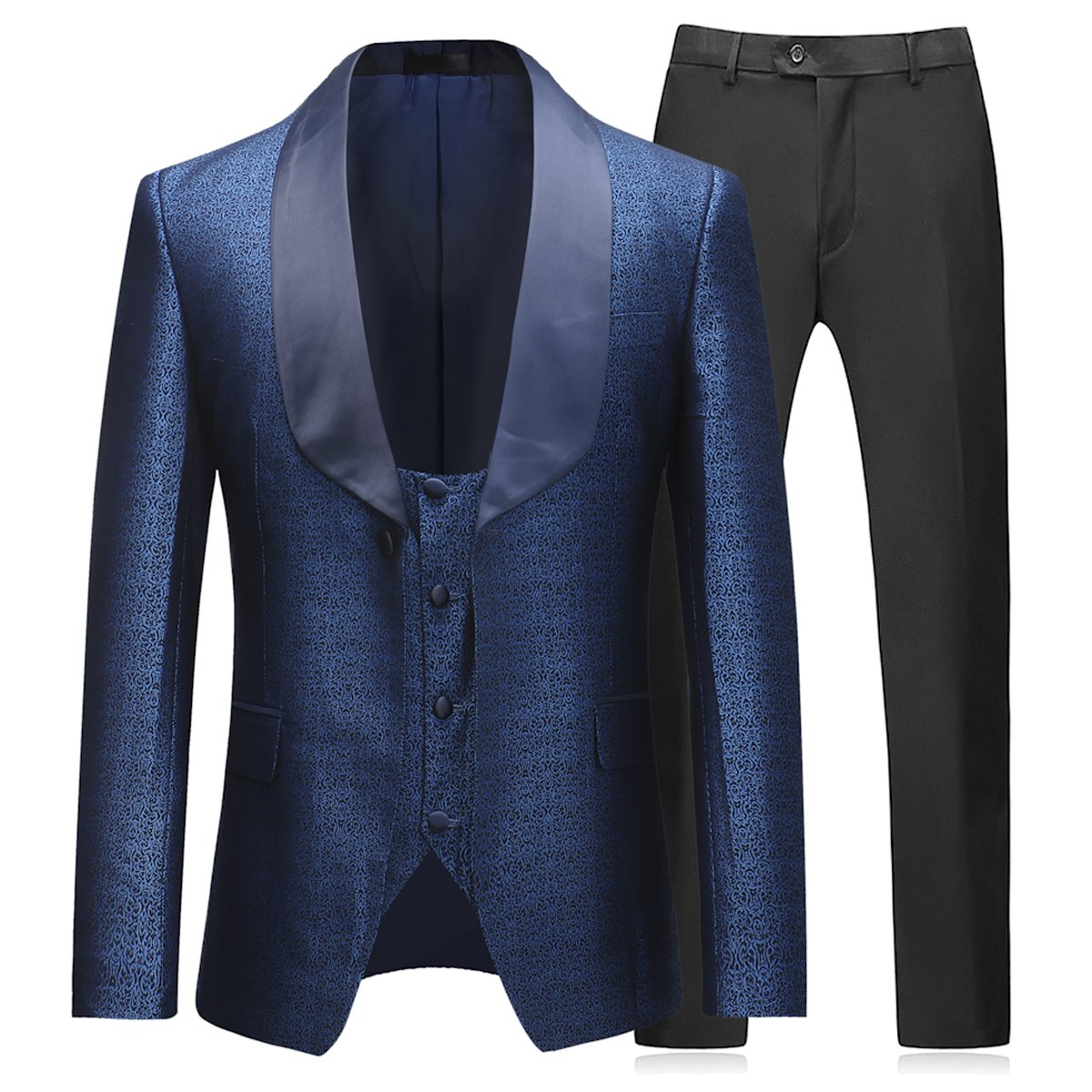 Boyland Mens 3 Piece Tuxedo Suits Dinner Party Prom Groom Tuxedos(Jacket+Vest+Pants) Blue by Boyland