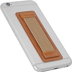 StilGut - Supporto dita per Smartphone in vera pelle con elastico, grande, Cognac