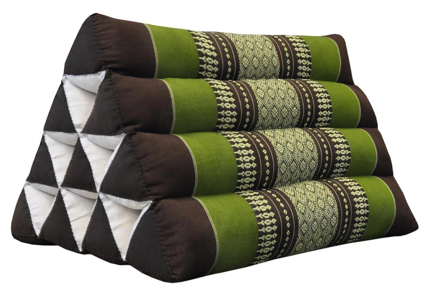 Thai triangular cushion, brown/green, relaxation, beach, kapok, made in Thailand. (82000)