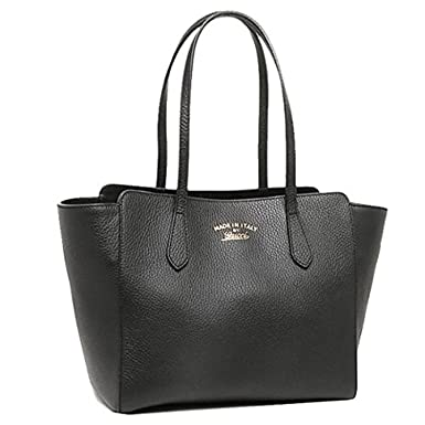 6be80751103f Amazon.com: Gucci Swing Black Leather Small Shoulder Tote Bag 354408 ...