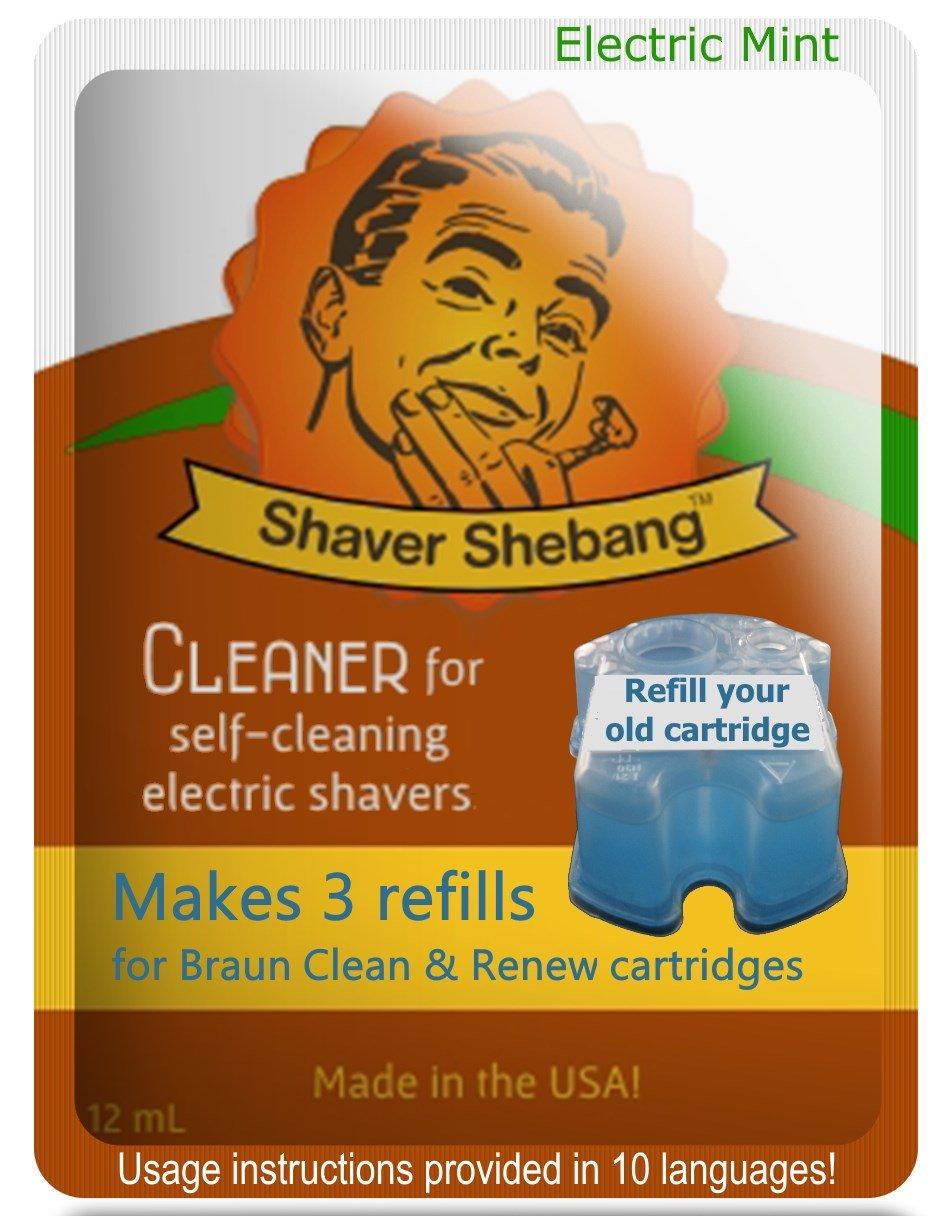 3 recargas para cartuchos Braun - Menta eléctrica - 1 soluciones limpiadoras Shaver Shebang - sustitutos de Clean & Renew Organek Living