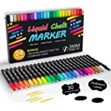 Chalk Markers, 24 Vibrant Colors Liquid Chalk Markers Pens for Chalkboards, Windows, Glass, Cars, Water-based, Erasable, 3mm