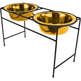 Platinum Pets Modern Double Diner Stand with Two 8 Cup Rimmed Bowls, 24 Karat Gold