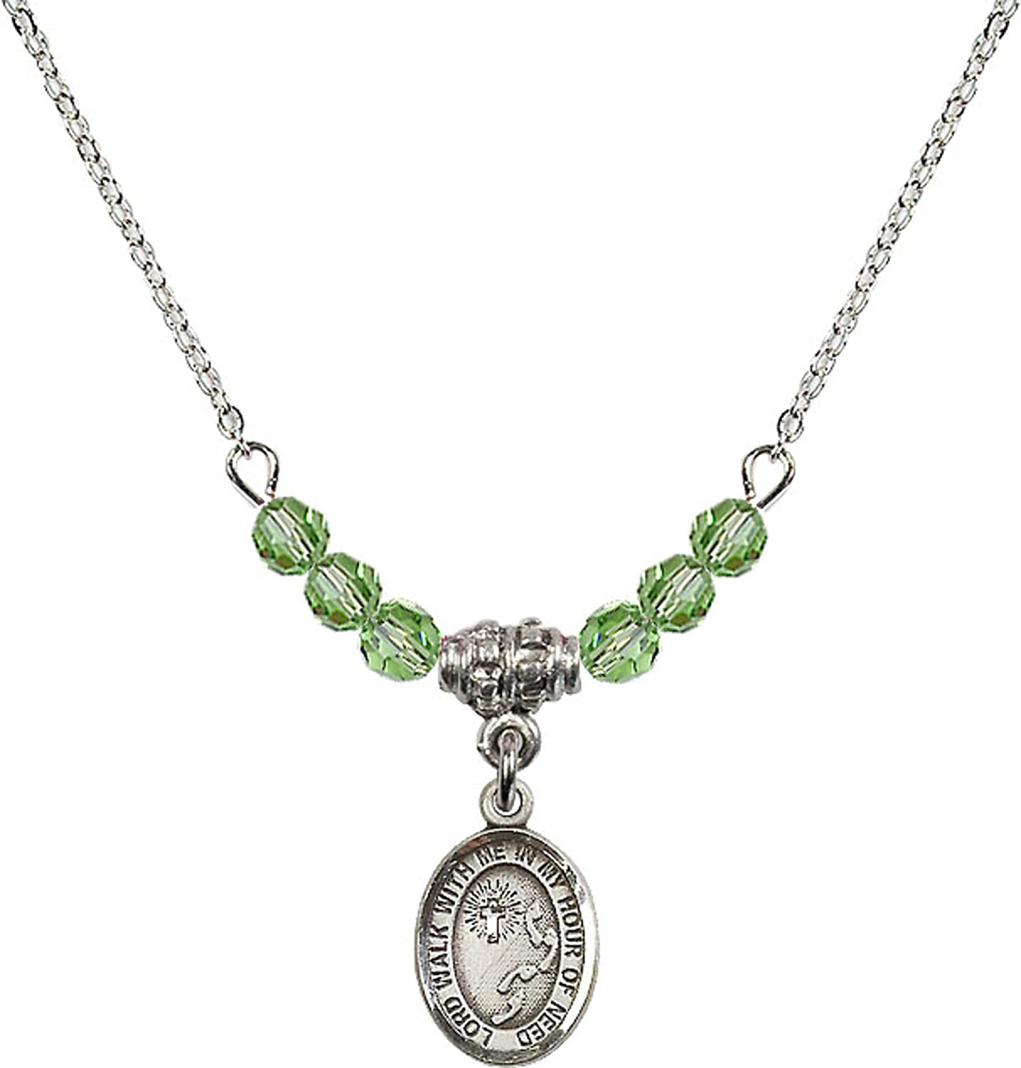 Bonyak Jewelry 18 Inch Rhodium Plated Necklace w// 4mm Green August Birth Month Stone Beads and Footprints//Cross Charm
