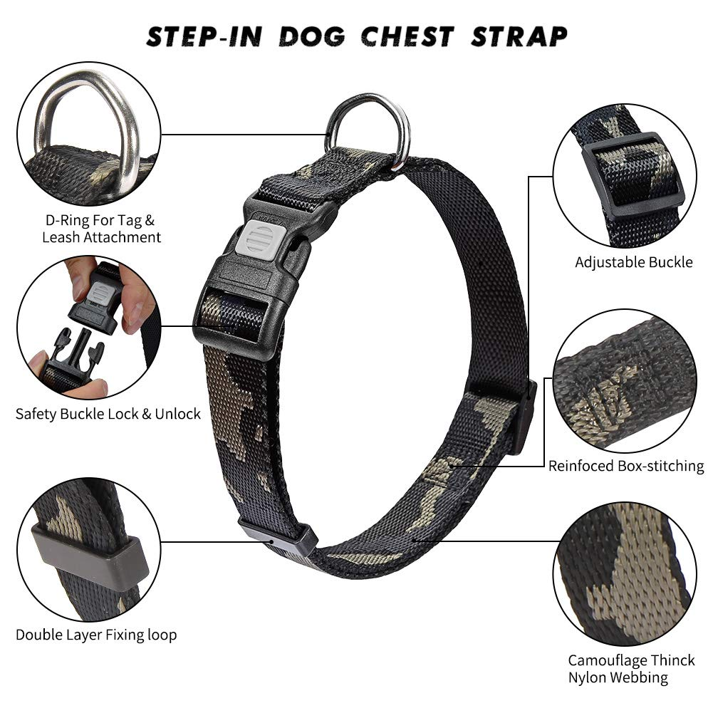 vAv YAKEDA Dog Collar and Leash Set Military Nylon Durable Adjustable Collar with Leashes for Small Medium Large Dogs (M (13.8\